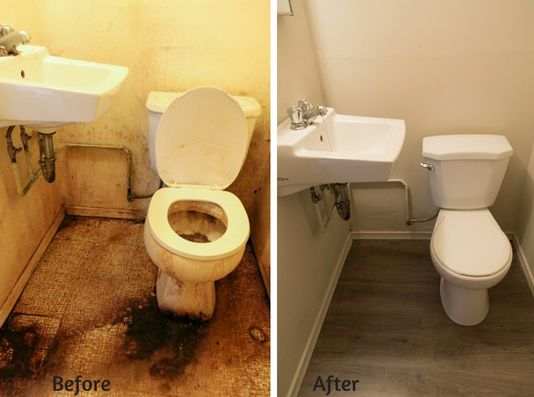Before and After view of bathroom