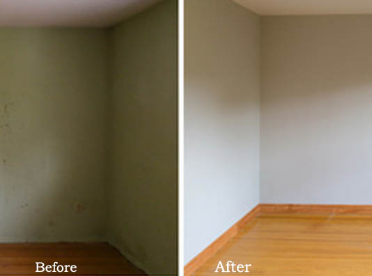 before and after view of a room
